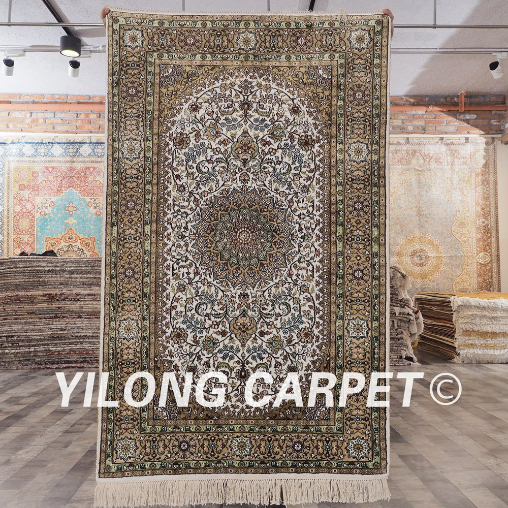 YILONG 3'x5' Persian Hand Knotted Silk White And Green