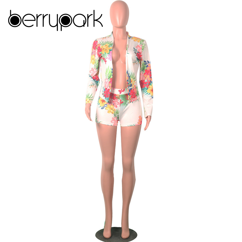 BerryPark Floral Print OL Blazer Short Women Suit Casual Outwear Long Sleeve Jacket Shorts 2 Two Piece Set Office Lady Clothes 2