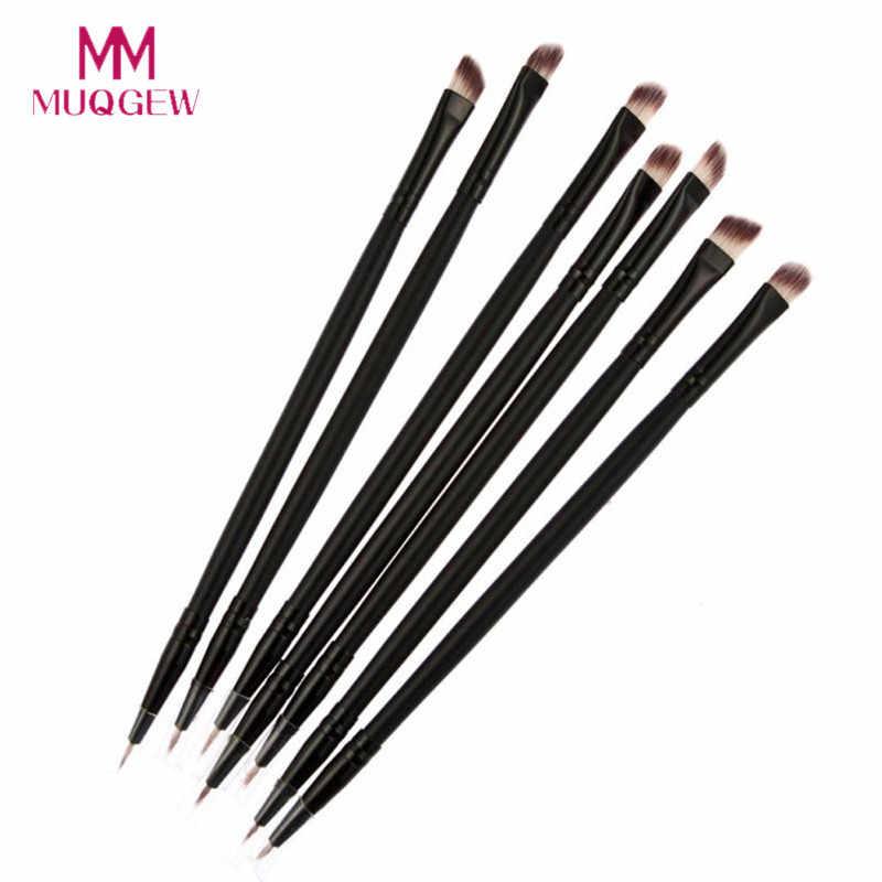 MUQGEW brocha negra de sombra de ojos de doble cabeza + pincel delineador de ojos 2018 nuevos pinceles de maquillaje profesional pinceaux maquillage HD006