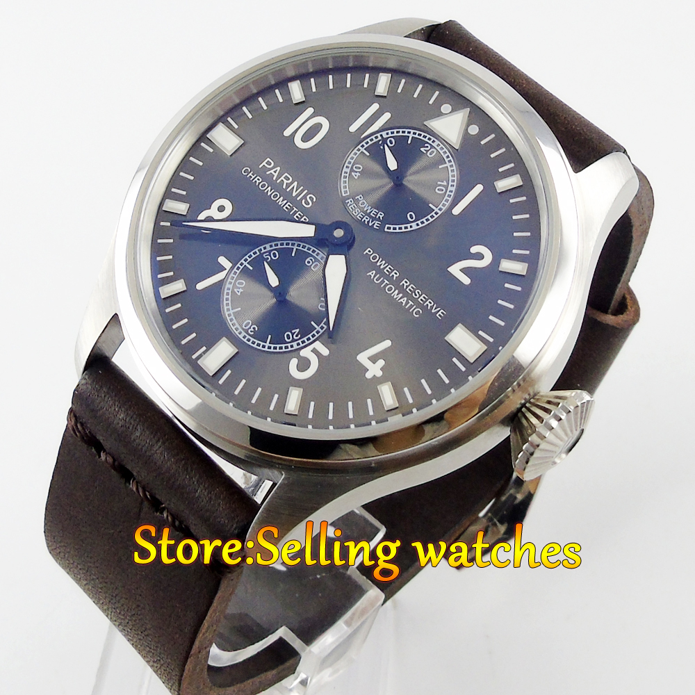 47mm parnis gray dial power reserve automatic movement mens watch 40mm parnis white dial vintage automatic movement mens watch p25