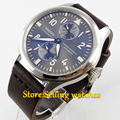 47mm parnis gray dial power reserve automatic movement mens watch