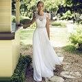 2016 Venta Caliente Por Encargo de la Cucharada Que Rebordea Correas Apliques de encaje Vestido de Novia Vestido de Noiva Piso-Longitud Robe De Mariage