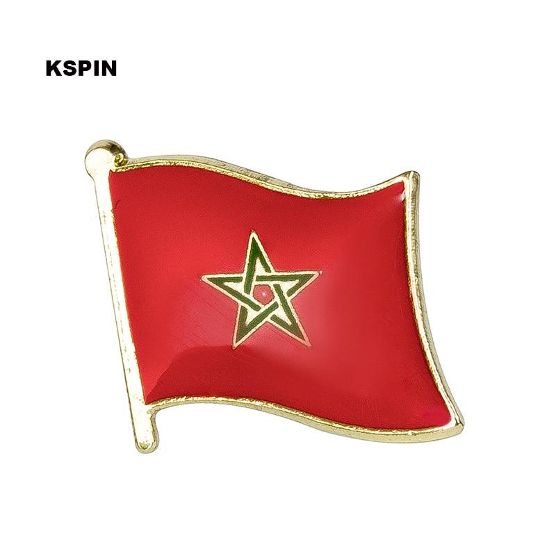 ธงโมร็อกโกป้าย pin lapel pin 100pcs lot เข็มกลัดไอคอน KS 0131-ใน ป้าย จาก บ้านและสวน บน   1