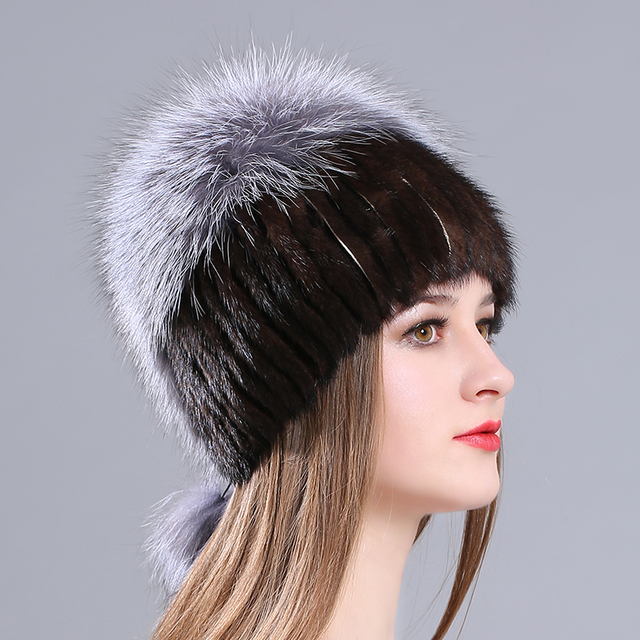 Thicken Knitting Hat Solid lined Elastic Russian Beanie With Luxury Fox Fur  Pompon Cap Women Winter Real Mink Fur Beanie Hats c69f7670165