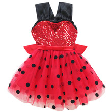 Summer Kids Dresses for Girls Dots Red Dress Costumes Minnie Sequined Suspender Girl Children Evening Party