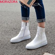 MORAZORA 2020 ใหม่มาถึงผู้หญิงข้อเท้ารองเท้าPUรอบToeรองเท้าฤดูใบไม้ร่วงซิปสบายๆสบายๆรองเท้าผู้หญิงสีแดง