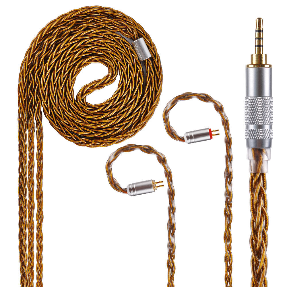 Yinyoo 8 Core Brown Pure Silver Cable 2.5/3.5/4.4mm Balanced Earphone Upgrade Cable With MMCX/2Pin balanced wire balanced cable balanced line pure silver wire diy earphone wire