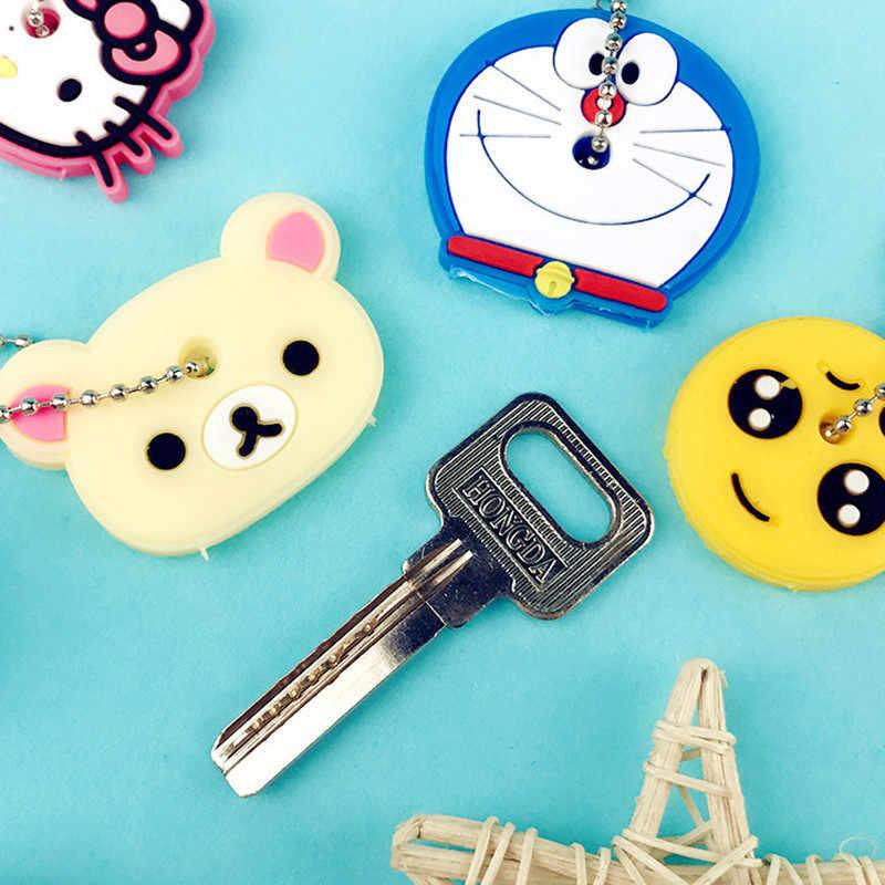 Bonito criativo chave titular pvc macio chaveiro ornamento pingente dos desenhos animados silicone capa protetora para chaves