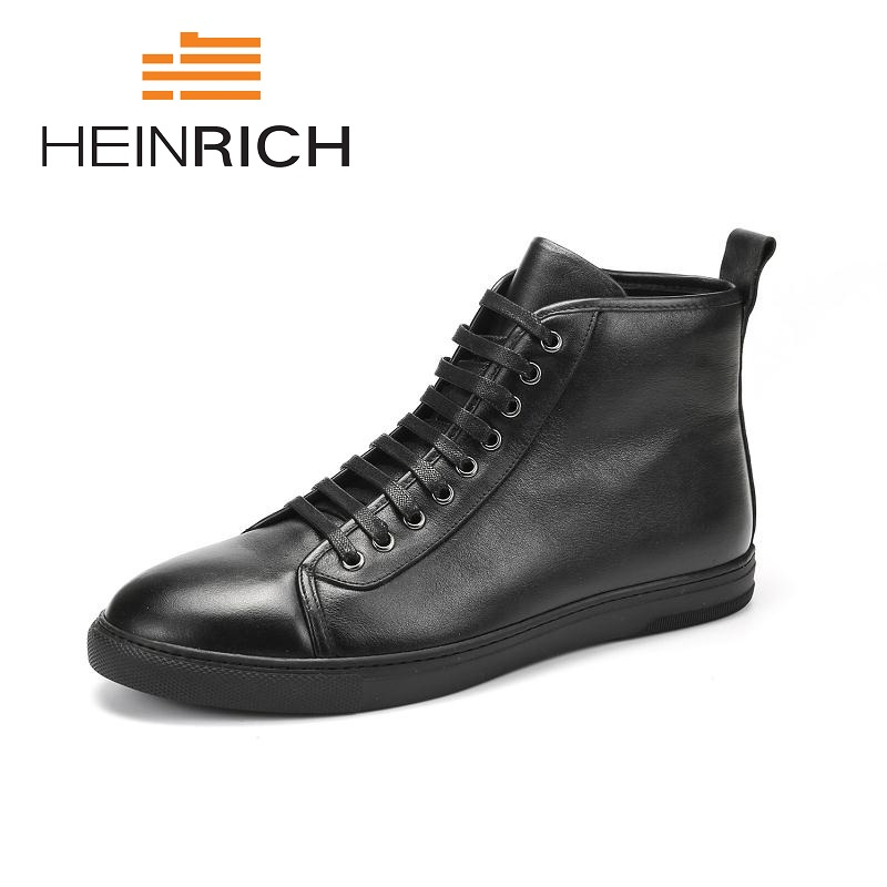 HEINRICH 2018 Men Boots Genuine Leather High-Top Men Shoes Fashion Winter Leather Ankle Boots Leisure Man Boots Stivaletti UomoHEINRICH 2018 Men Boots Genuine Leather High-Top Men Shoes Fashion Winter Leather Ankle Boots Leisure Man Boots Stivaletti Uomo