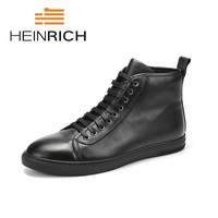 HEINRICH 2018 Men Boots Genuine Leather High Top Men Shoes Fashion Winter Leather Ankle Boots Leisure Man Boots Stivaletti Uomo