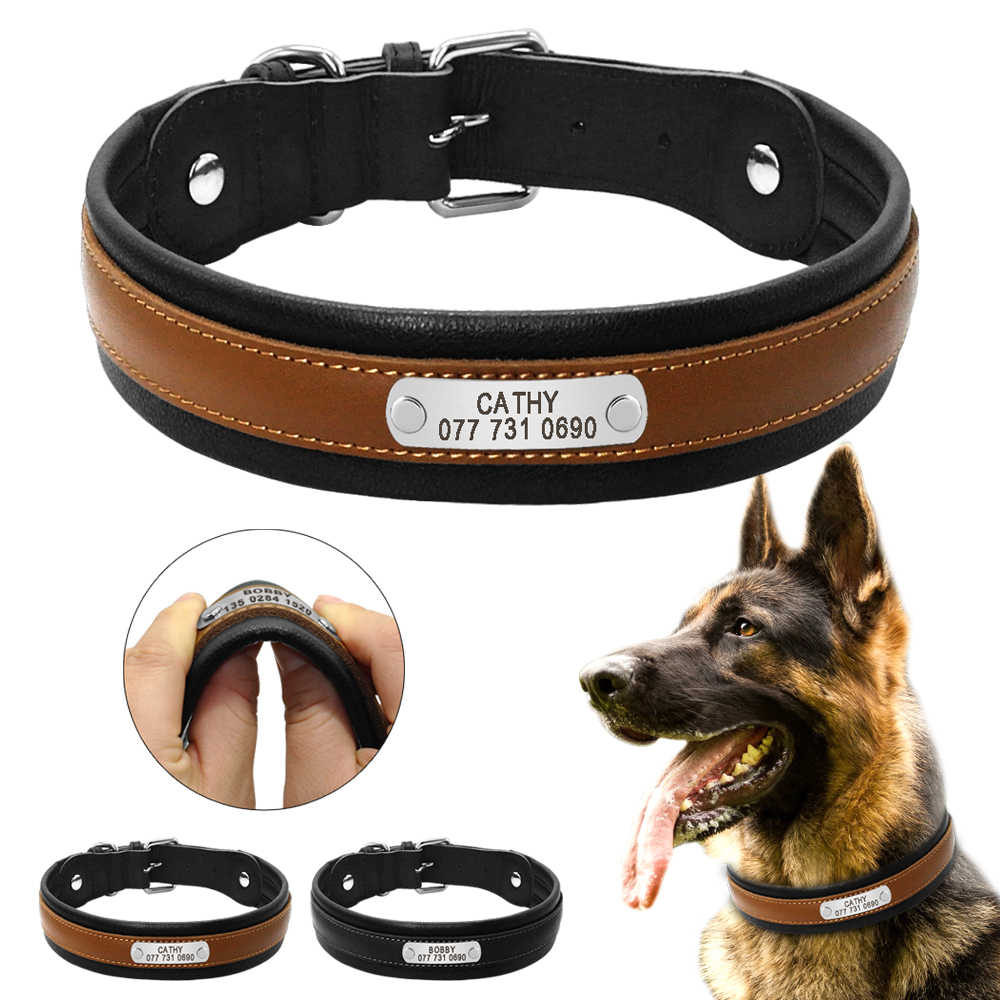 Custom PU Leather Dog Collar Soft Inner Padded Pet ID Tag Personalized Dog Collar Engraved Name and phone number  For Small Medium Large Dog