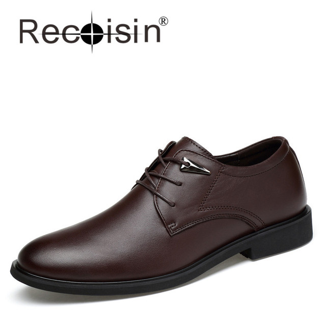 RECOISIN 2017 New Italian Designer Fashion Men Dress Shoes Genuine Leather Luxury Formal Wedding Shoes Men Flats Office for Male