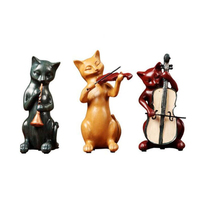 3pcs Resin Figurines Mini Cat Band Craft Ornaments Gift Office Wine Cabinet Display Home Decoration Crafts