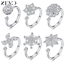 ZEMO Flower Rotate Rings for Women Crystal Rotating Finger Adjustable Rose Gold Wedding Resizeable Anillos