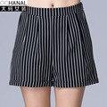 2016 Large Size Shorts Women New Summer Casual Shorts Women Loose Slim Stripe Wide Leg Shorts High Waisted Short Femme