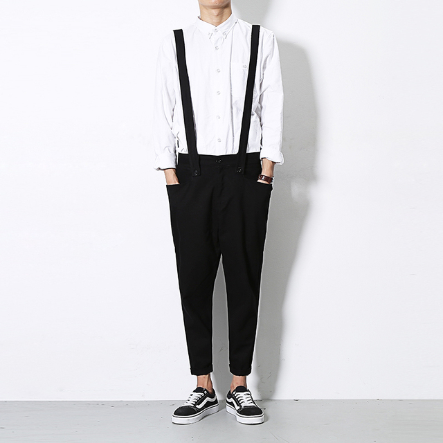 c5c5f81d920 Men s Jumpsuit 2018 Japanese Style Sleeveless Casual Cotton Skinny Fashion  Rompers Trousers Overalls Black M-2XL Free shippingL