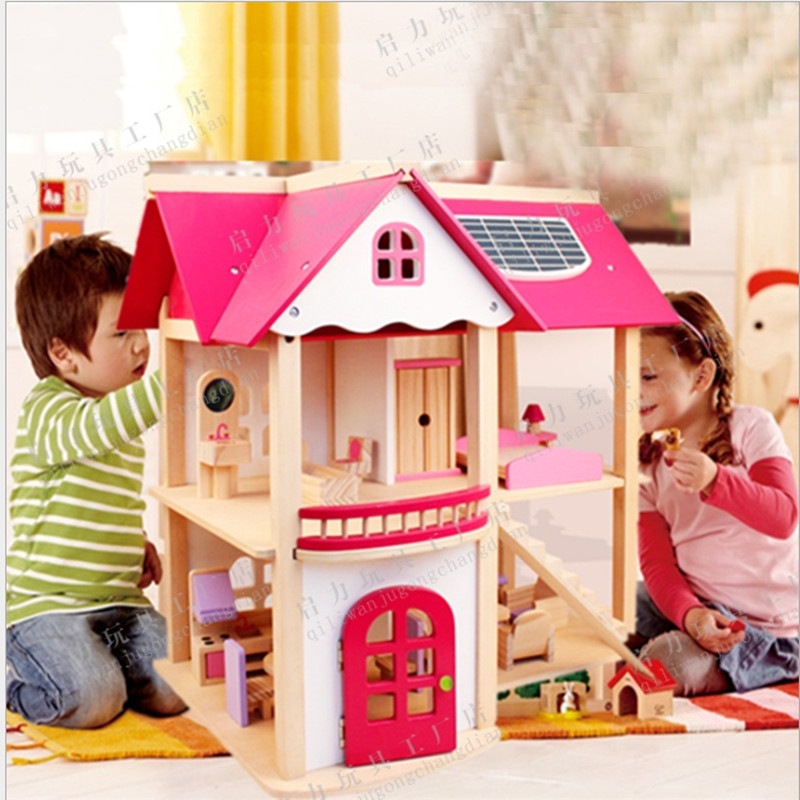 Girls Wooden Houses Pretend Toy Wooden Doll House/ Kids Wooden Doll Villa With Doll Room Furniture Birthday Present