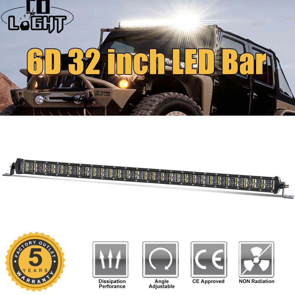 CO LIGHT Led Offroad Light Bar 6D 32inch 180W Led Bar Combo Auto Driving Work Lights for Truck Boat SUV ATV 4x4 4WD Jeep 12V 24V 6pcs 12inch 72w offroad led work light bar combo beam 12v 24v for truck suv boat atv 4x4 4wd auto driving light