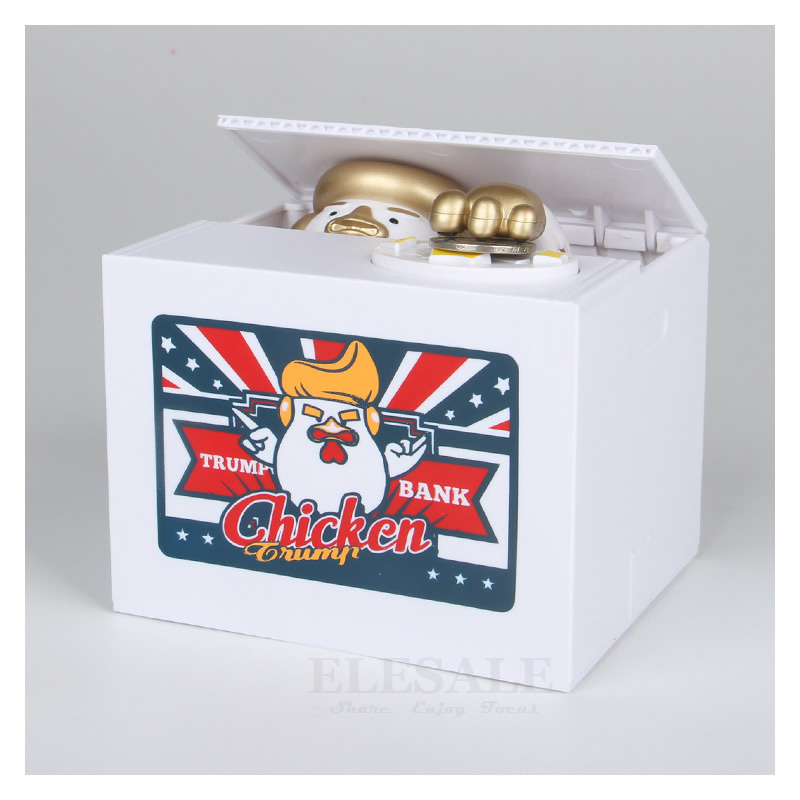 Creative Chiken Trump Electronic Piggy Bank The Greatest Donald Trump Money Box Coins Money Safe Box For Gag Gift Desk Toy