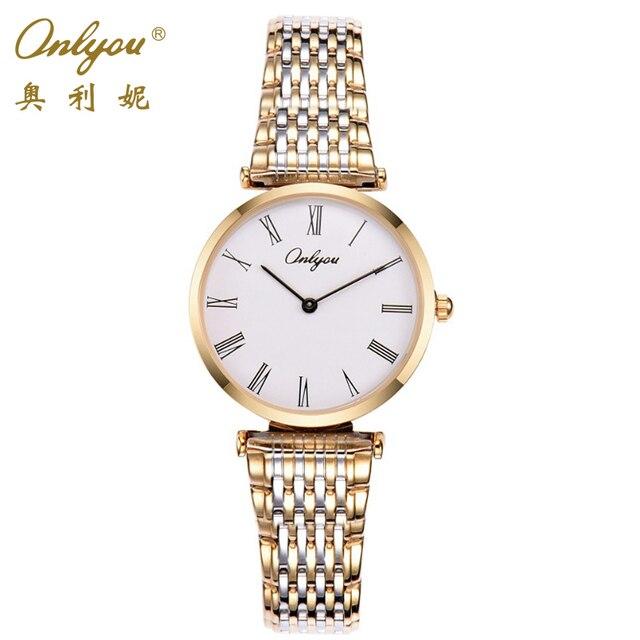 031833d1ad48 Elegant Ladies Dress Watches Quartz-Analog Movement Silver Gold Stainless  Steel Strap Wrist Watches For Women Relogio Feminino