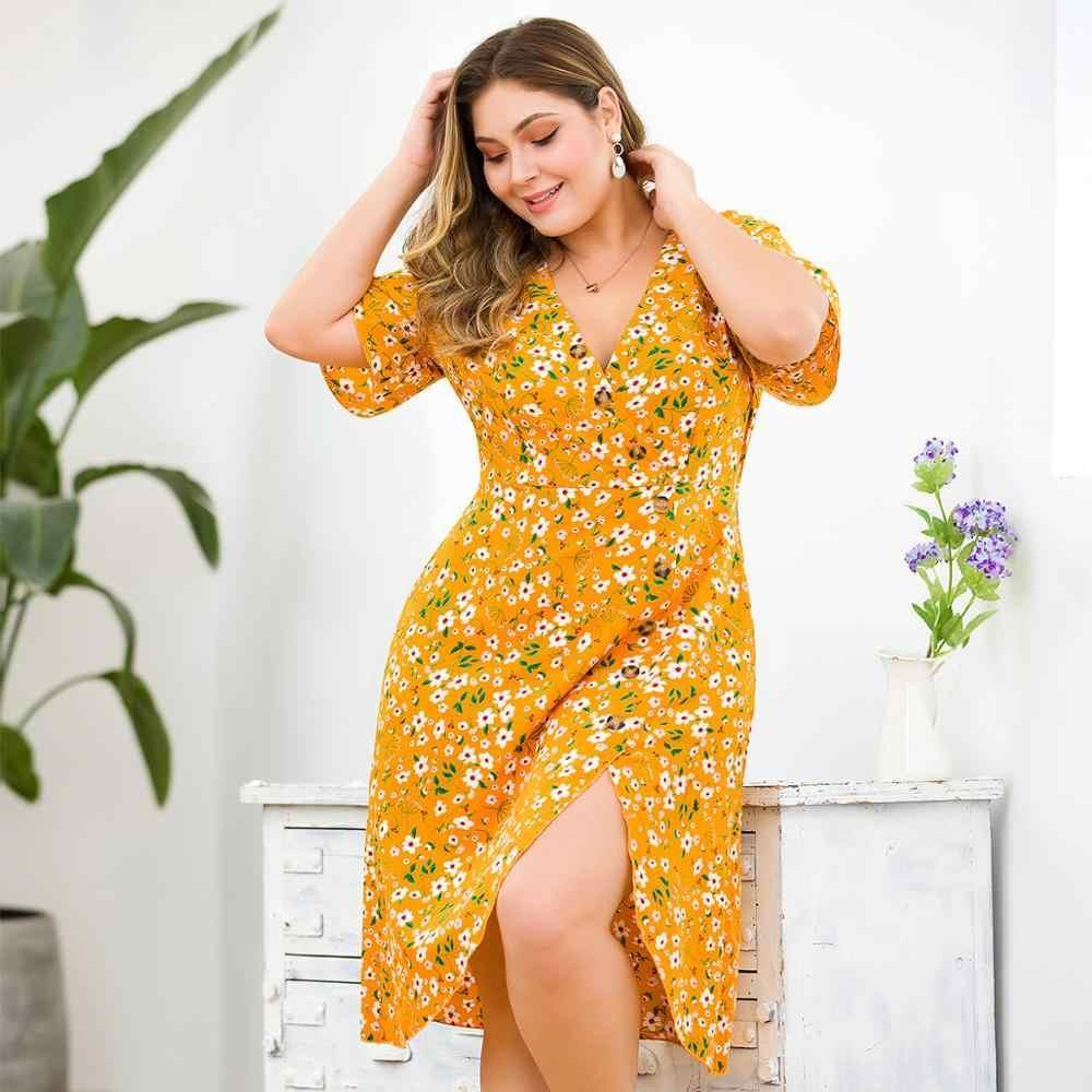 Лето Плюс Размер 3XL 4XL желтое платье с цветочным принтом для женщин Русалка сексуальное Глубокий v-образный вырез шифон пуговицы труба оборки платье для женщин