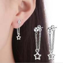 Женские серьги гвоздики серебро 925 пробы 3 звезды