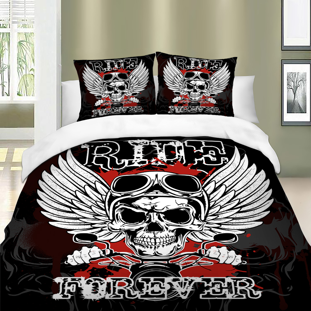 Rock Skull Bed Linen Duvet Cover Set Single Double Queen King Bedclothes Bedding Sets With Pillowcase Soft And Comfortable