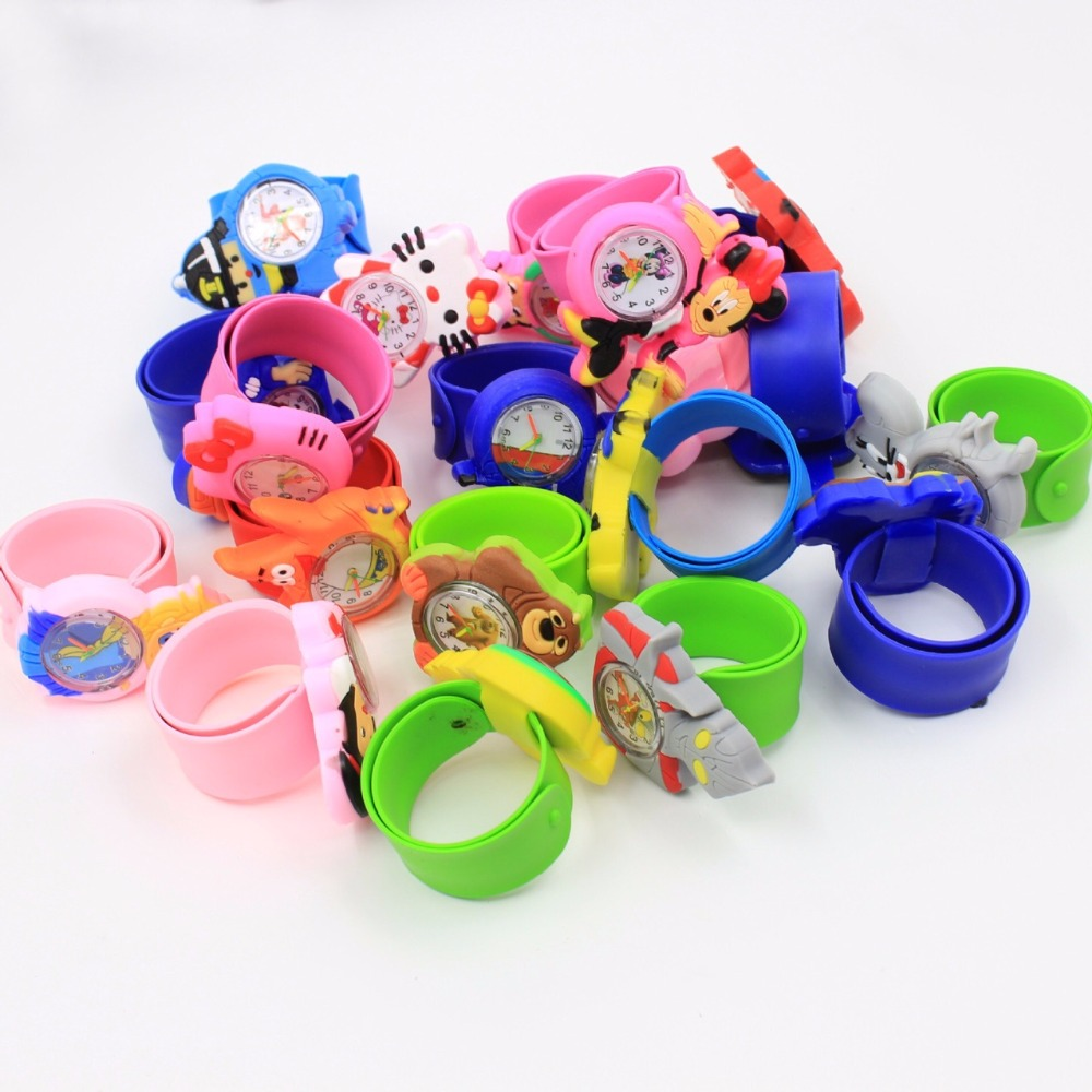 Fast Shipping Random Mix 100pcs 3D Carton Kids Children Boys Girls Wristwatch Students Slap Pa Pa