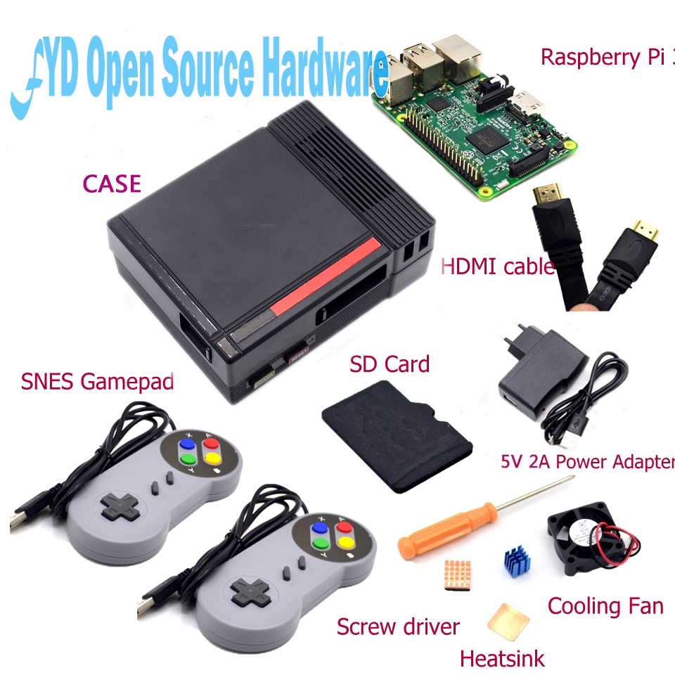 NES Case with Raspberry Pi 3 16G Card Fan 2pcs SNES font b Gamepad b font