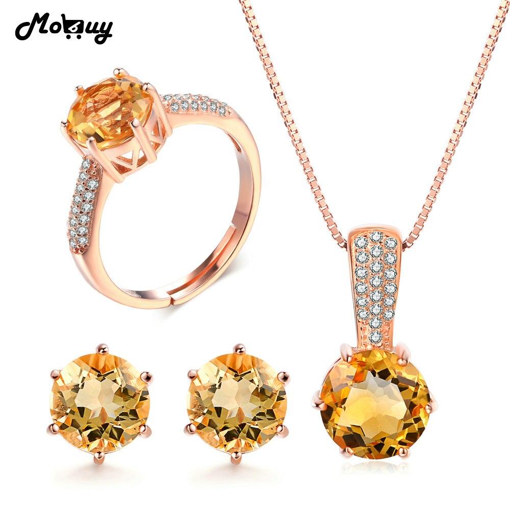 MoBuy accessoires de mariage pierres précieuses naturelles jaune Citrine 925 en argent Sterling 3 pièces Fine parure de bijoux pour les femmes de fiançailles V002ENR