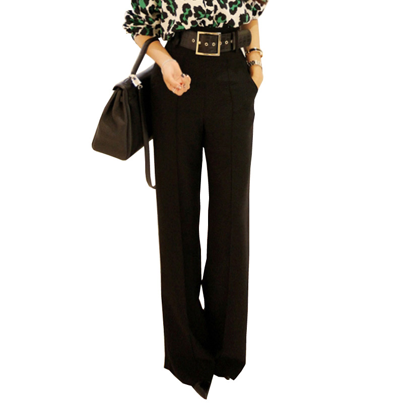 2018 Workwear Formal Black Straight Pants High Waist Pantalon Costume Pant Summer Trouser Female Wide Leg Pants For Women Pants in Pants amp Capris from Women 39 s Clothing
