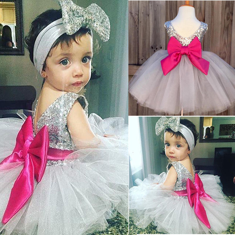 0 4y Baby Dress Cute Kids Girls Clothes Bow Sequined