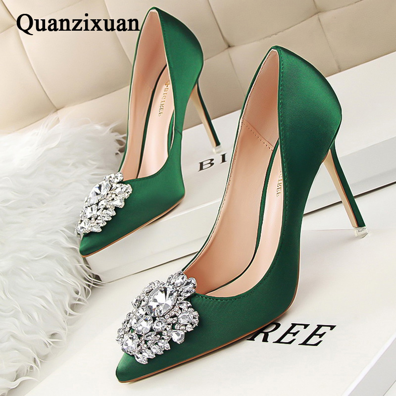 Women Pumps Crystal High Heels Shoes Spring Fashion Women Shoes Pointed Toe Kitten Heels Wedding Shoes Bigtree Shoes Stiletto