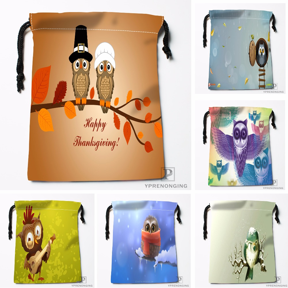 Custom Cartoon Animal Owl House Drawstring Bags Printing Travel Storage Mini Pouch Swim Hiking Toy Bag Size 18x22cm#180412-11-91