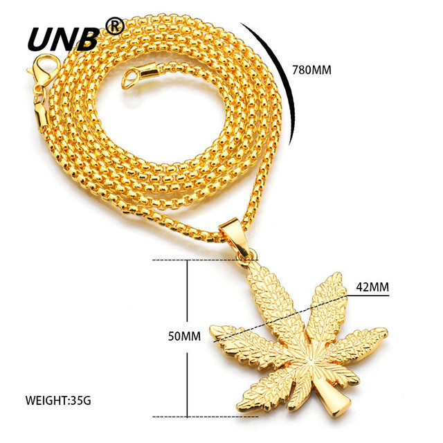 UNB 2017 New Gold Silver Plated Cannabiss Small Weed Herb Charm Necklace Maple Leaf Pendant Necklace Hip Hop Jewelry Wholesale 4