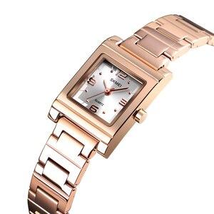 Image 2 - SKMEI אופנה נשים של שעוני יוקרה מותג נירוסטה קוורץ גבירותיי שעון עמיד למים נשים צמיד שעון Relogio Feminino