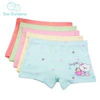 Zoe Saldana Girl's Underwear 2017 New 5Pcs/Lot Kids Letter Cartoon Bear Printed Cotton Boxer Shorty Soft Baby Girl Underpants