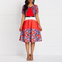 Plus Size Summer Dresses Casual Autumn New Fake Two piece Digital Printing Short sleeved Belt Dress African Women