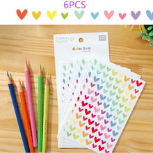 6Pcs Heart Star PaperSticker Scrapbooking DIY Photo diary kawaii stationery For Girls Sticker Album Decoration(China)