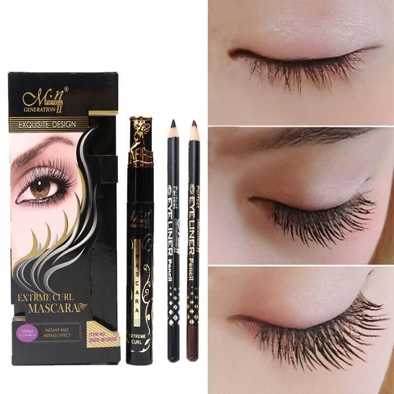 3 Pieces Mascara Maquiagem Liner Pen Eyebrow Pencil Set Waterproof