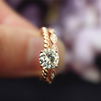 DUPUY 14K Rose Gold Engagement Rings Set 1.0ct Cut Forever Classic Ring&Half Eternity Conflict Diamond Wedding Ring D180381 1