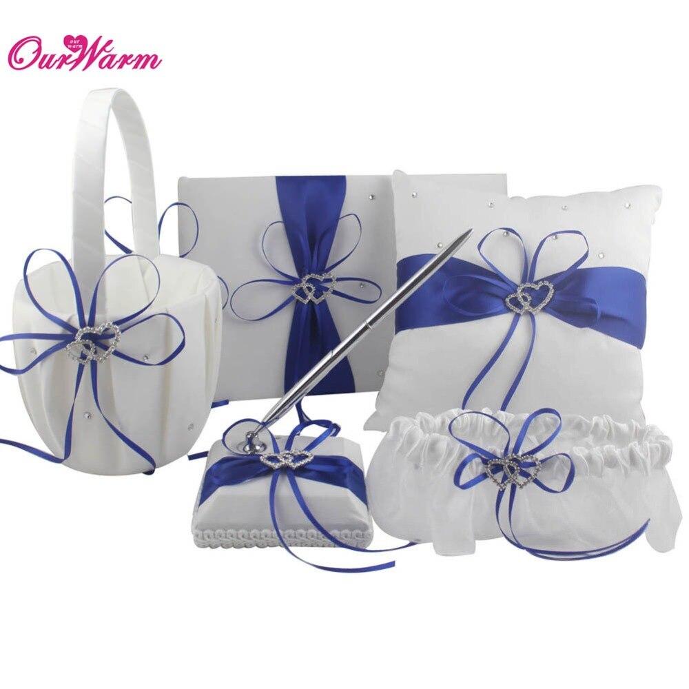 Double Heart Satin Ring Pillow Flower Basket Guest Book Pen Set Garter with Rhinestone Diamond for
