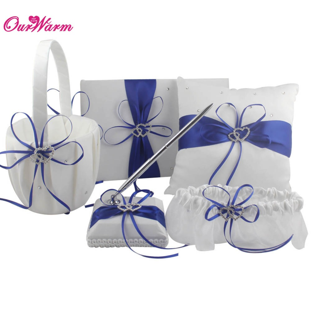 Double Heart Satin Ring Pillow+Flower Basket+Guest Book+Pen Set+Garter with Rhinestone Diamond for Wedding Party DecorationDouble Heart Satin Ring Pillow+Flower Basket+Guest Book+Pen Set+Garter with Rhinestone Diamond for Wedding Party Decoration