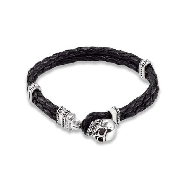 Black Leather Bracelets with Skull Toggle Clasp Thomas Style Mens Viking Vintage Friendship Bracelets TS Jewelry Gifts Bijoux