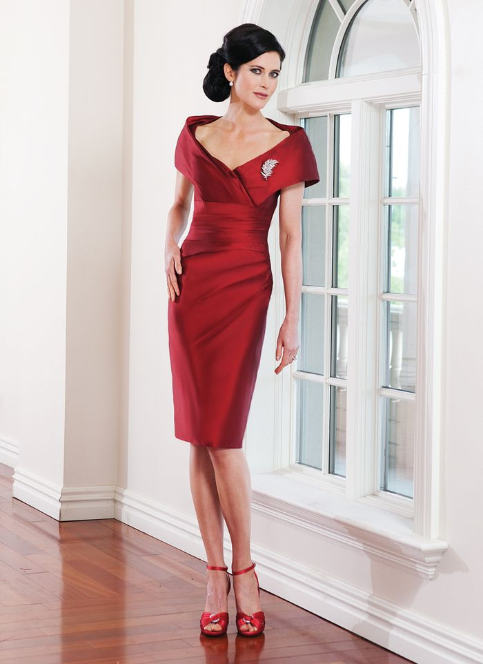 Best Ing Elegant Mermiad Off Shoulder Ruched Short Red Taffeta Mother Of Bride Dress In The Dresses From Weddings Events On