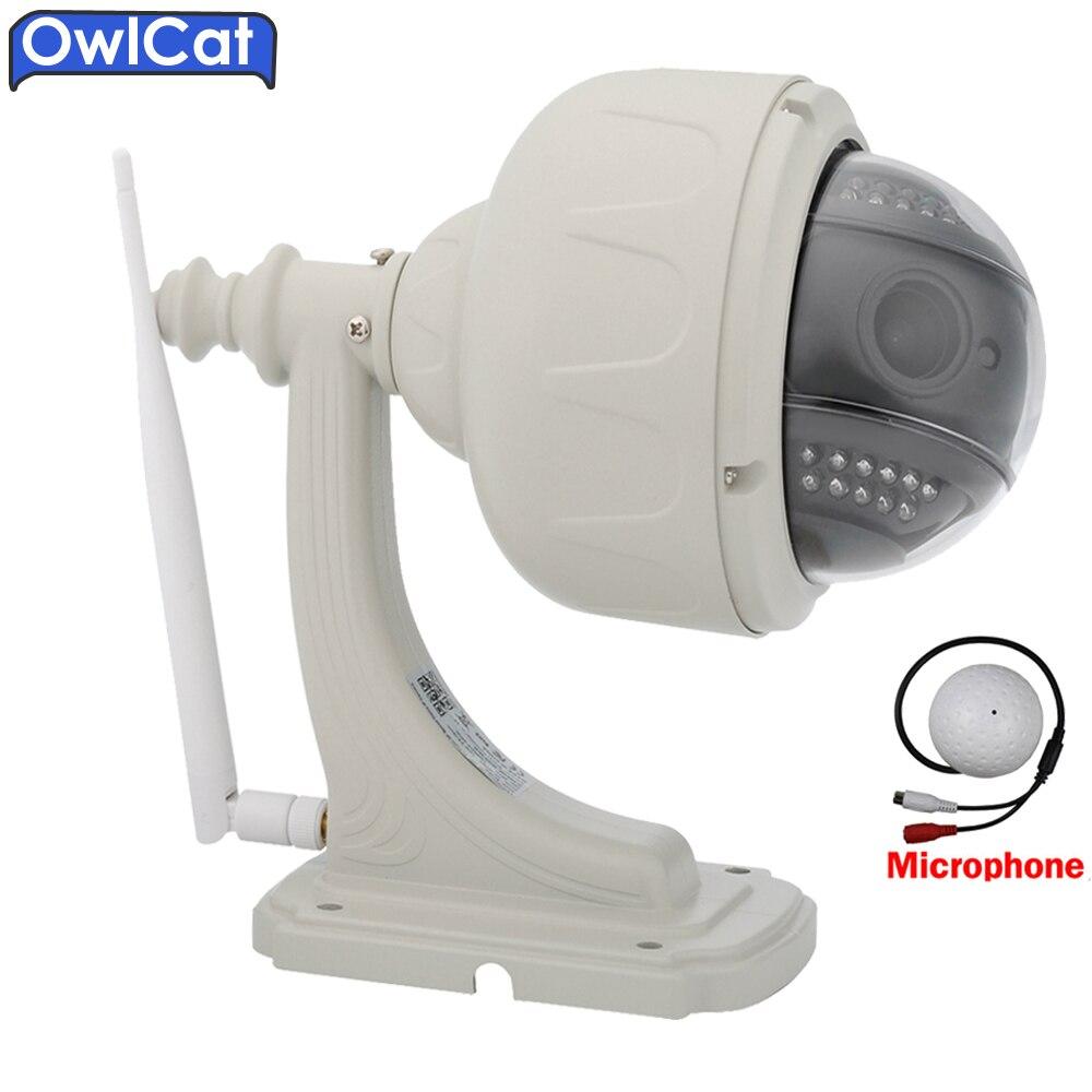 OwlCat Outdoor Wireless Dome 1080P PTZ IP Camera Wifi 5X Zoom Audio External Microphone SD Card IR Night Onvif P2P Onvif2.0 4 in 1 ir high speed dome camera ahd tvi cvi cvbs 1080p output ir night vision 150m ptz dome camera with wiper