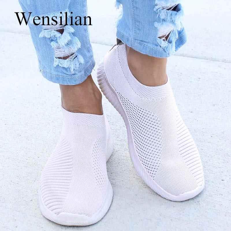 Zapatillas de deporte de moda para Mujer Treainers Zapatos planos vulcanizados de punto Slip On Sock Zapatos calzado de señora Zapatos Mujer