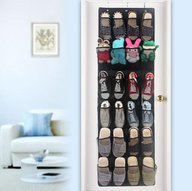 Kitchen Organizer 24 Pocket Shoe Space Door Hanging Organizer Cotton Bag  For Shoes Rack Wall Bag
