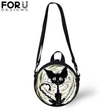 FORUDESIGNS Black Gothic Cat Print Round Shoulder Bag  for Teenager Girls Messenger Crossbody Satchel Women Kid Daypack Rucksack