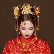 hot deal buy vintage chinese bride wedding hair jewelry sets traditional ancient costume hair sticks tassel step shake headdress ornament new
